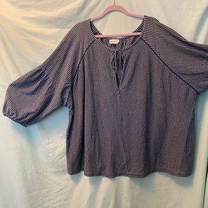 Puffed Sleeve Striped Shirt